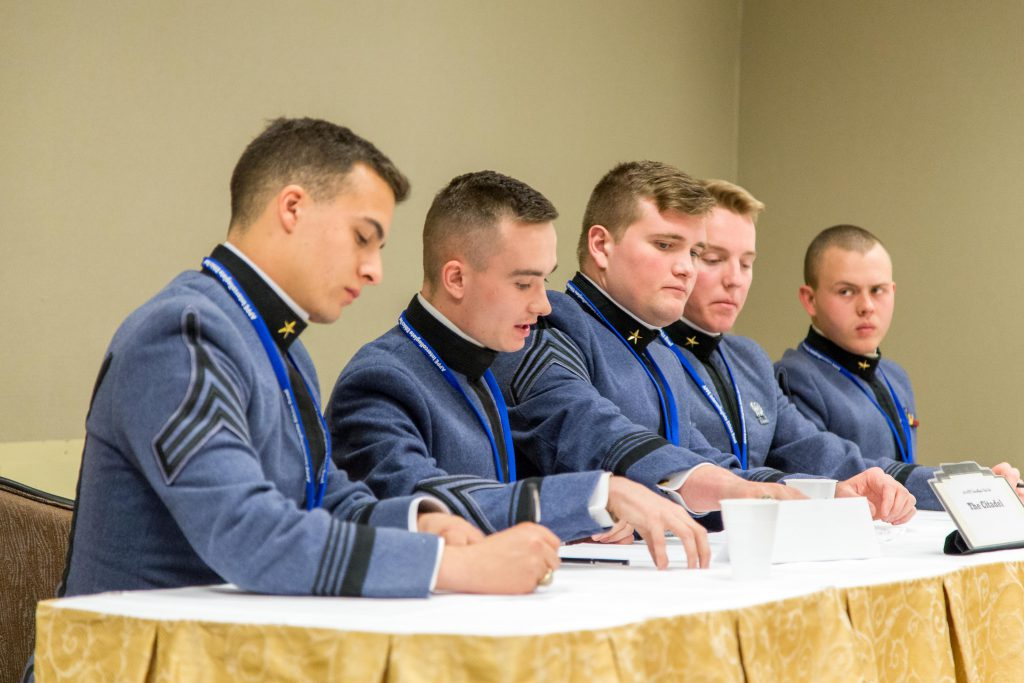 Citadel Cadets at the Ethics Bowl during a presentation.